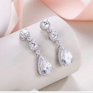 Jewelry - Ever Faith Stirling Silver Tear Drop Earrings